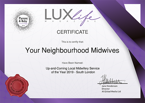 Your Neighbourhood Midwives - LUXLife certificate