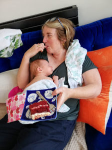 Your Neighbourhood Midwives - Tess with baby and cake